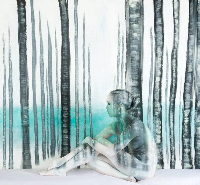 Winter Birch Forest bodypaint
