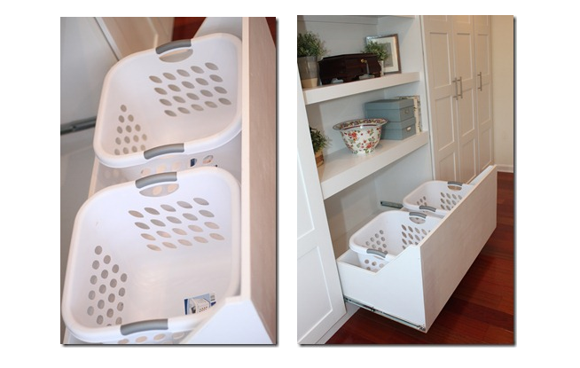 Laundry hampers in drawers
