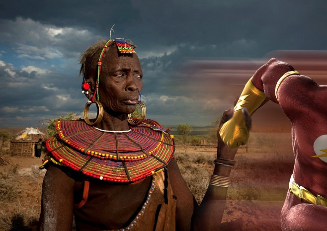 Photoshop Battle 8 Pokot holding the Flash