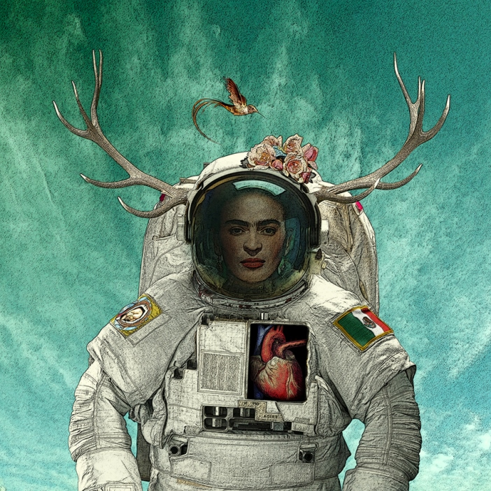 Frida Kahlo as an astronaut