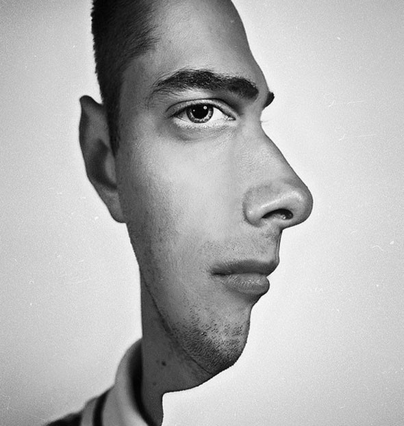 Two faced portrait illusion