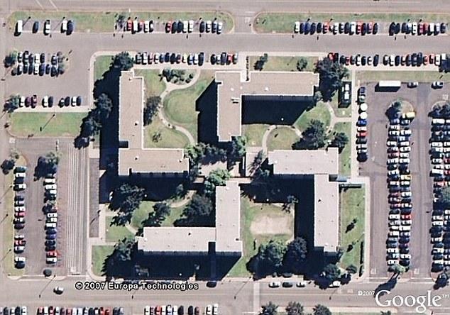 Swastika-shaped building