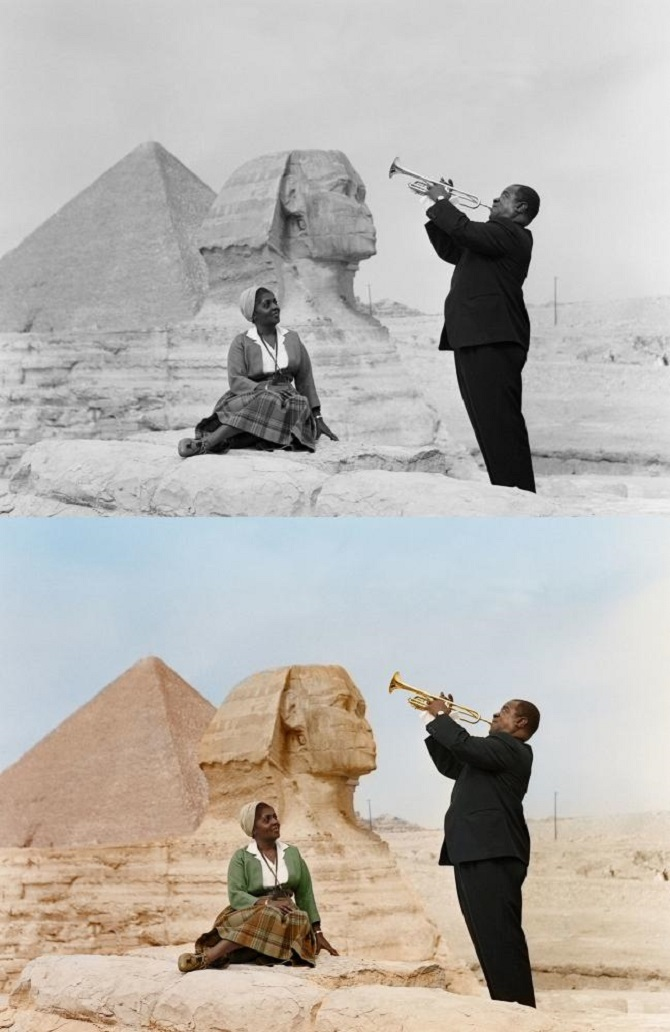 Louis Armstrong and his wife Lucille in Cairo, 1961
