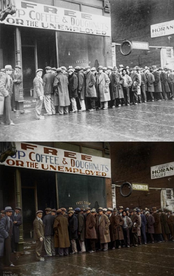 Queue of unemployed waiting for food, 1931