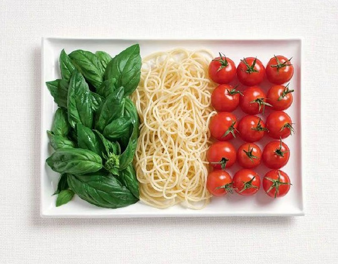 Italy - basil pasta and tomatoes