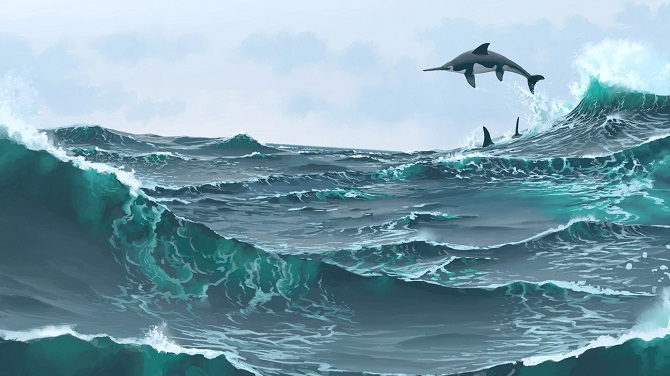 Flying above the waves