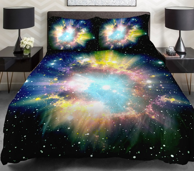 Galaxy Bedding Blue And Green Space Galaxy