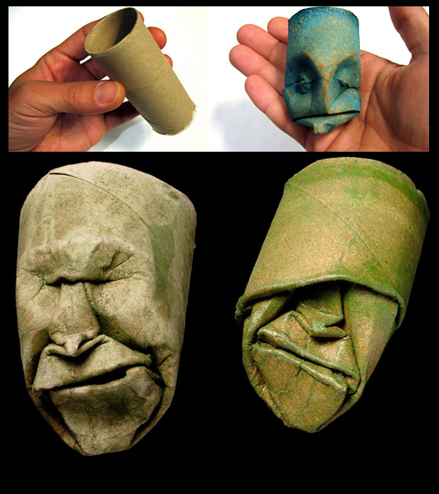 Origami Faces Into Old Paper Rolls