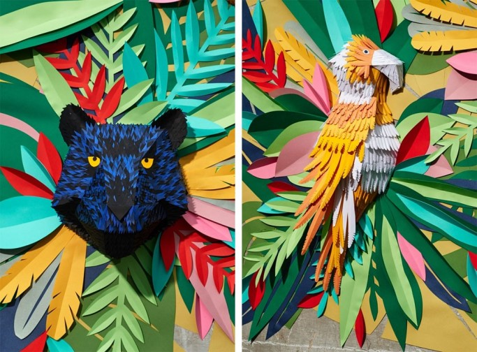 Tropical Jungle With Amazing Hand-Cut Paper Pieces