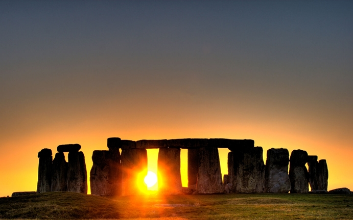 Sunset in Stonehenge, England