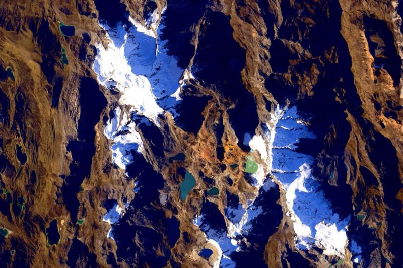 Glaciers and peaks in the Andes Mountains.