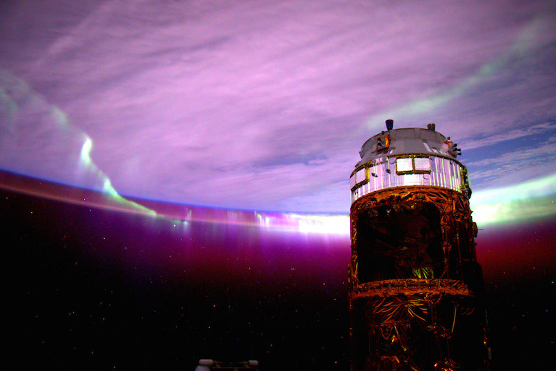 Purple glowing Aurora on Night 154 of the Year in Space.