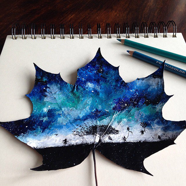 Fallen Autumn Leaves as Canvases