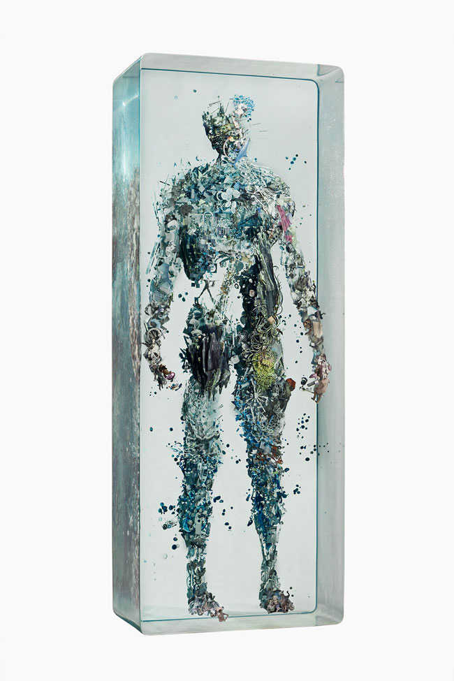 Human Collages Encased in Layers of Glass