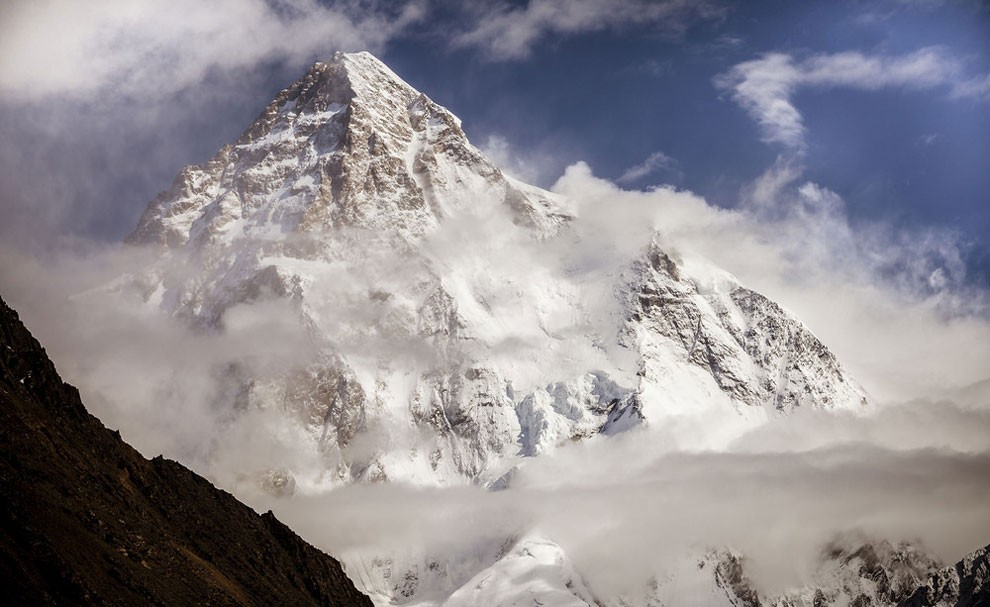 K2 mountain captured on a clear night just before sunrise.