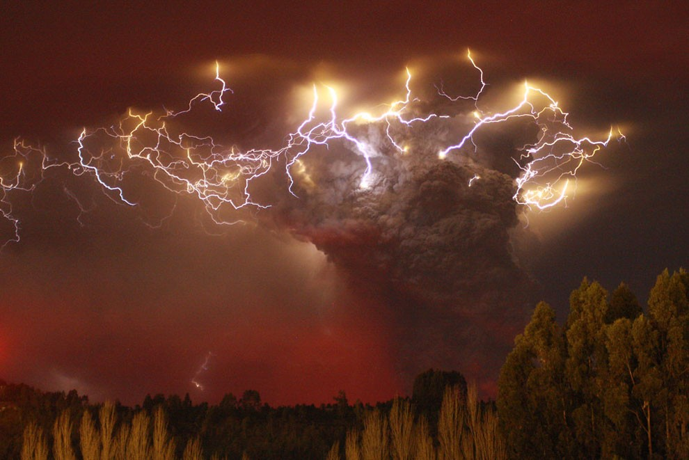 Lightning flashes around the ash plume above the Puyehue-Cordon Caulle volcano chain