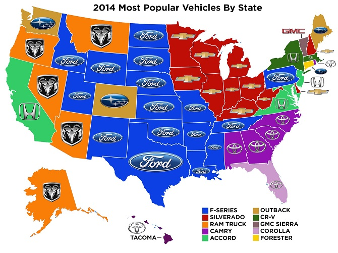 Most Popular Vehicles By State