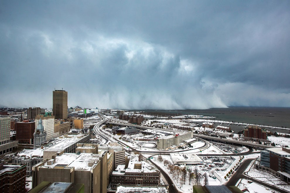 Storm clouds and snow blows off Lake Erie in Buffalo