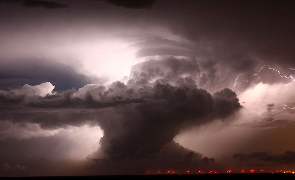 Supercell that became a Tornadic vortex signature lights up the night sky