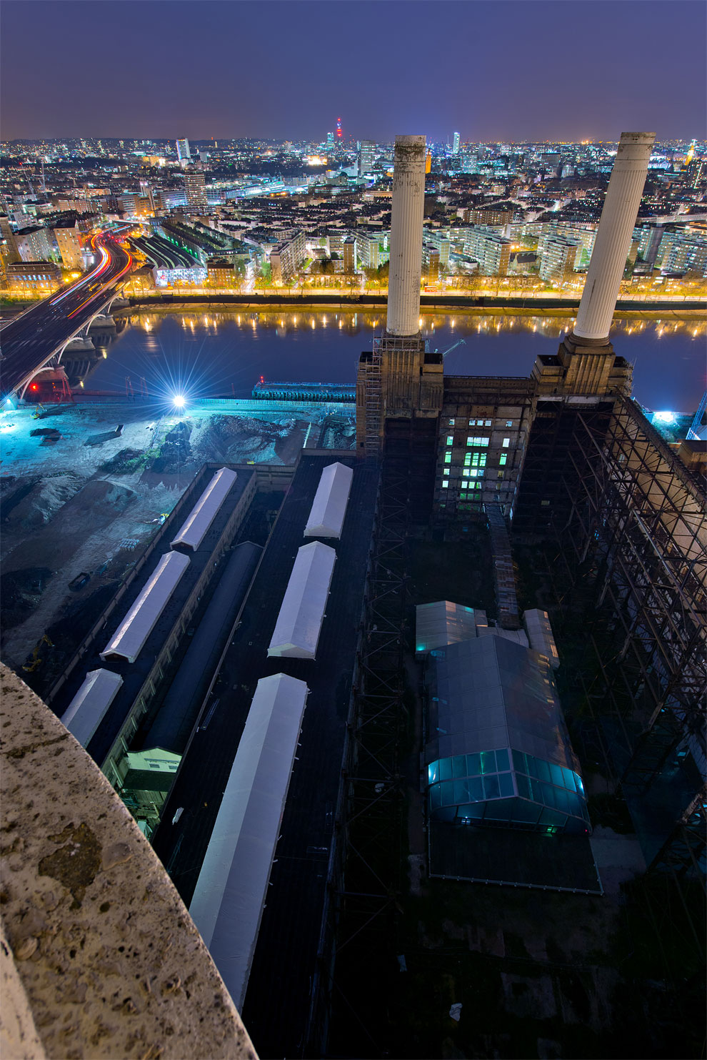 Battersea Power Station. The view from the top of one of the chimneys, prior to its redvelopment. (Photo by Marc Explo)
