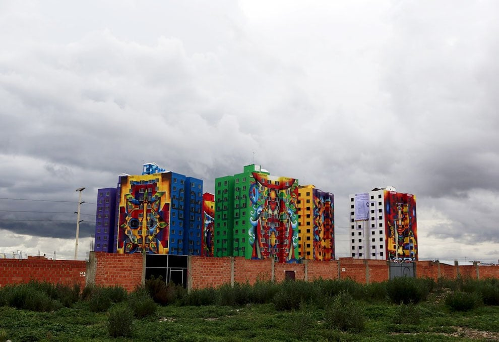 Decorated Multifamily Buildings in La Paz by Roberto Mamani