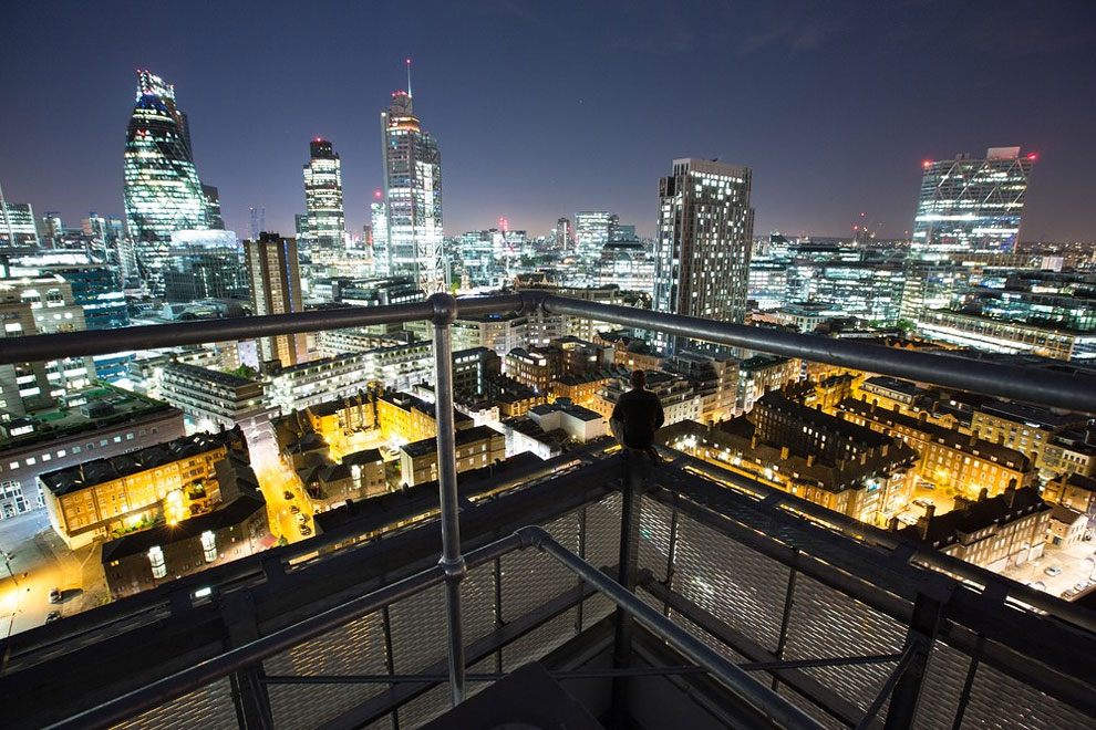 Denning Point, Aldgate. Watching the city lights from the top of a council block. (Photo by Bradley L. Garrett)