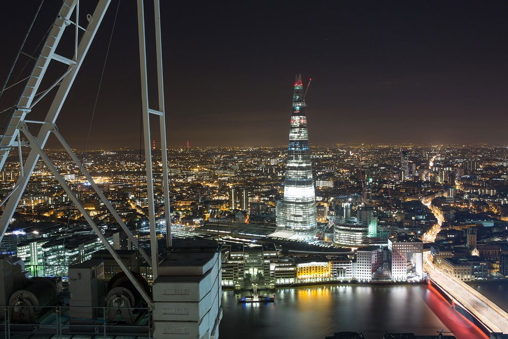 The Shard seen from the Walkie-Talkie, City of London. The counterweight of the Walkie-Talkie crane provided a spectacular view of the Shard. (Photo by Bradley L. Garrett)