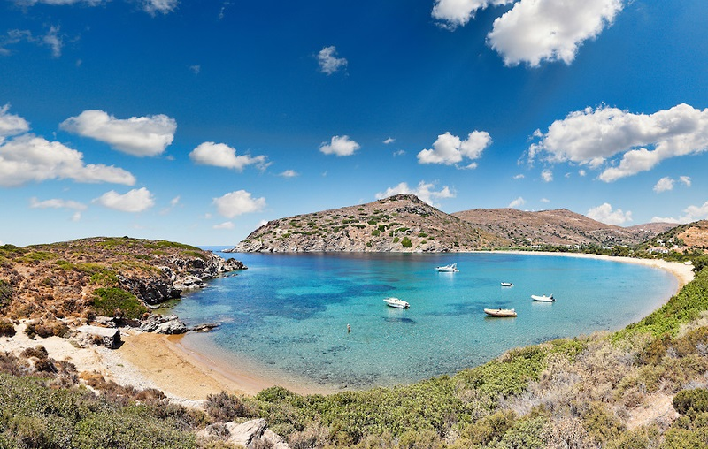 The bay of Fellos in Andros island, Greece