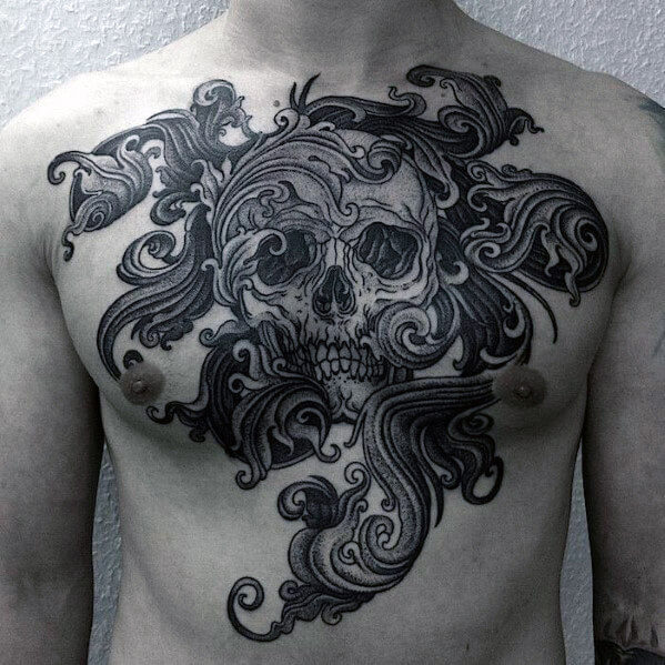 cool-skull-chest-tattoo-for-men