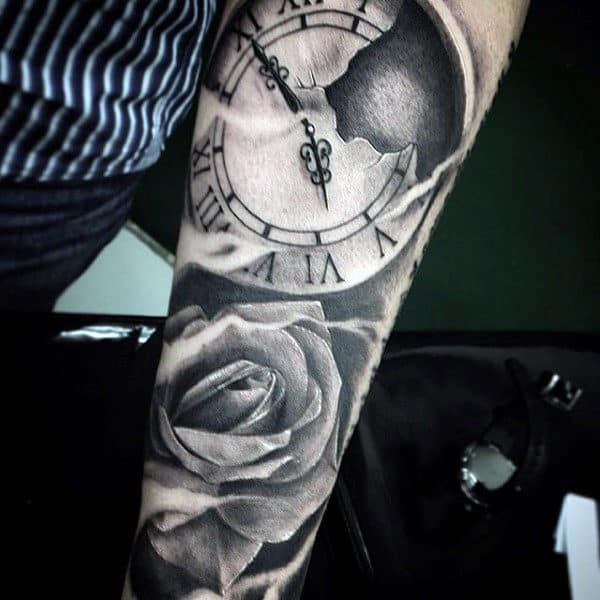 clock-and-rose-flower-mens-tattoo