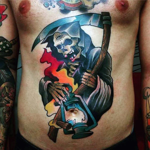 color-grim-reaper-guys-tattoo-on-the-stomach-with-broken-latern