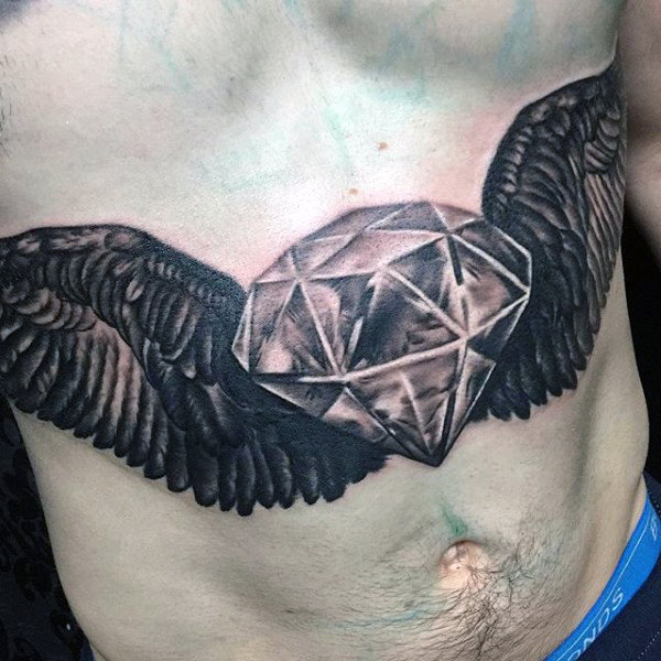 cool-realistic-mens-diamond-with-wings-stomach-tattoos