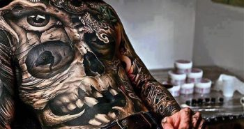 full-skull-manly-stomach-tattoos-for-men-in-black-ink