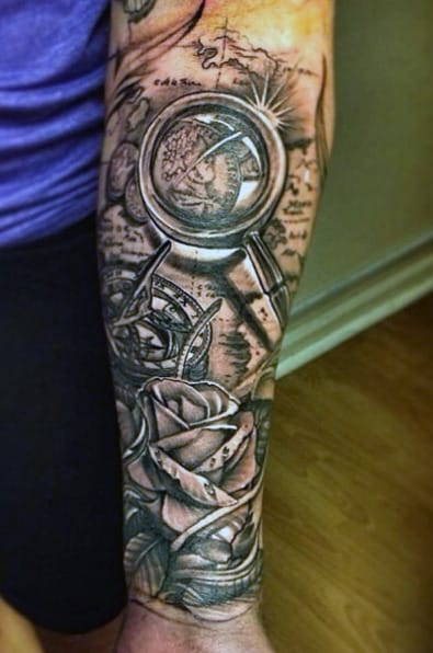 rose-flower-and-compass-mens-tattoo-ideas