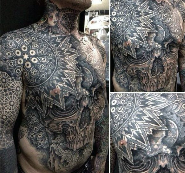 sacred-geometry-mens-stomach-tattoos-with-skull-design