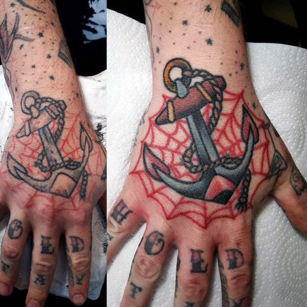 anchor-with-spider-web-traditional-hand-tattoo-ideas-for-guys