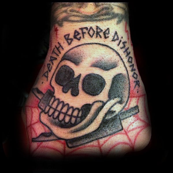 death-before-dishonor-skull-traditional-mens-hand-tattoos