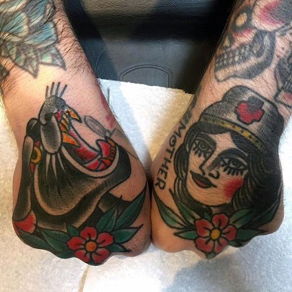 guy-with-cool-panther-and-nurse-traditional-hand-tattoo