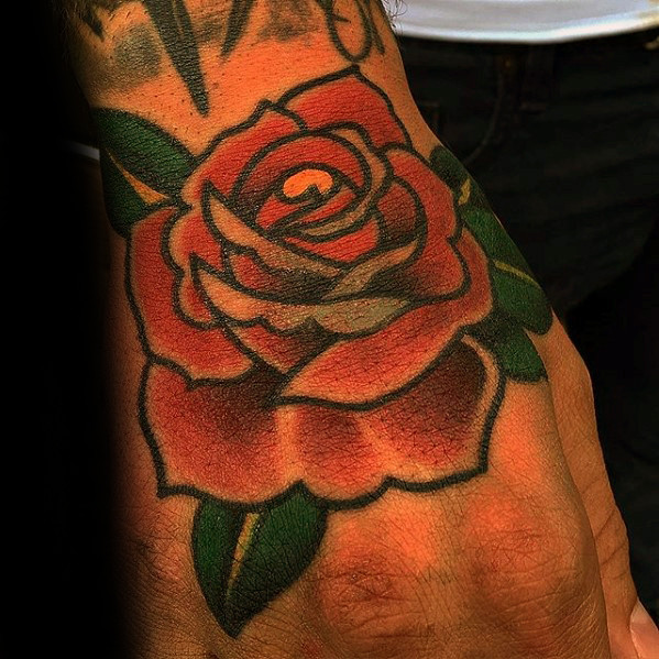 guys-traditional-rose-flower-tattoo-design-on-hand