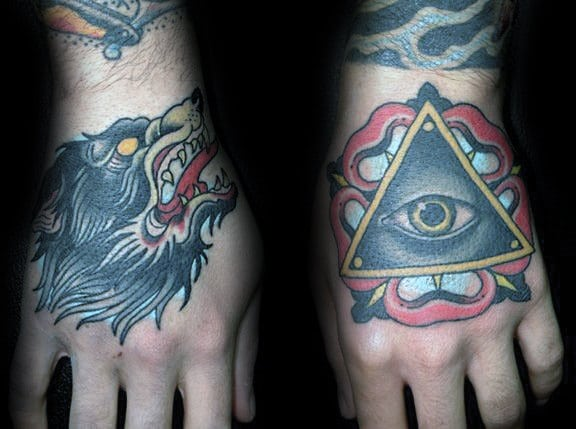 guys-wolf-and-all-seeing-eye-traditional-hand-tattoo-ideas
