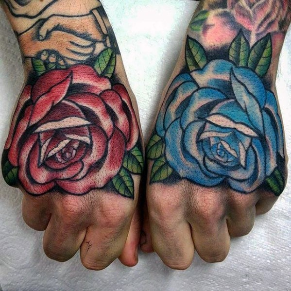 Mens Hand Blue And Red Rose Flowers Traditional Hand Tattoos Lazy