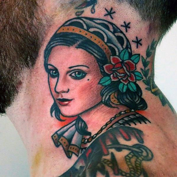 cool-traditional-neck-female-portrait-guys-tattoo-ideas