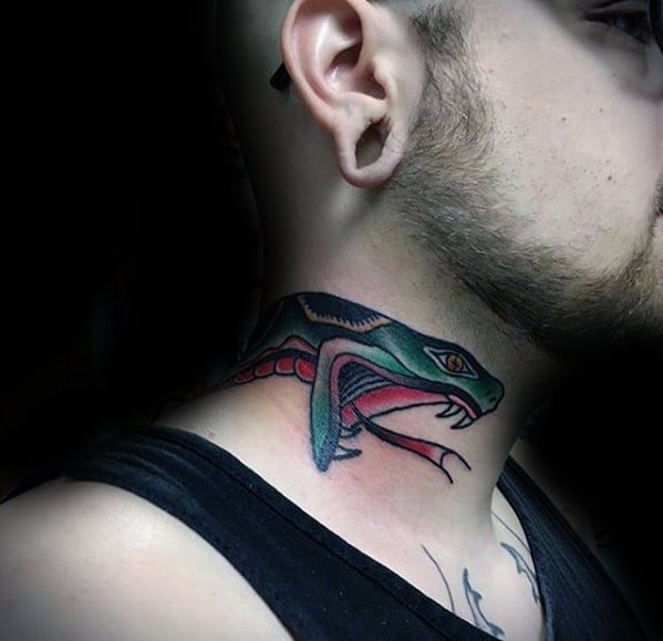 cool-traditional-neck-snake-head-male-tattoo