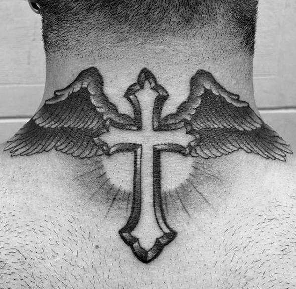 mens-angel-wings-with-cross-traditional-back-of-neck-tattoo