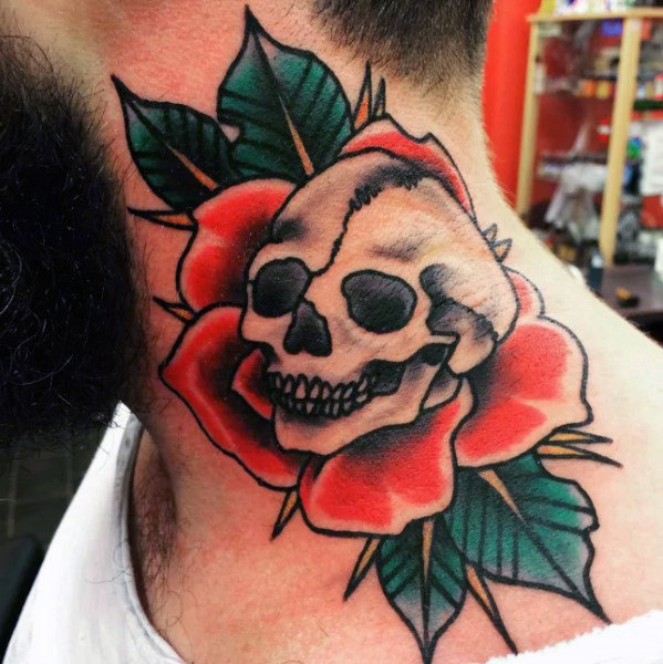 mens-skull-red-rose-flower-traditional-tattoo-design-on-neck