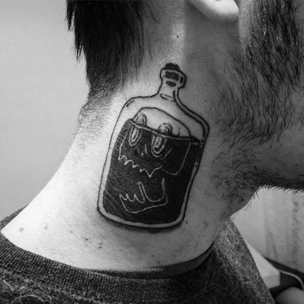 skull-inside-bottle-mens-black-ink-neck-traditional-tattoo