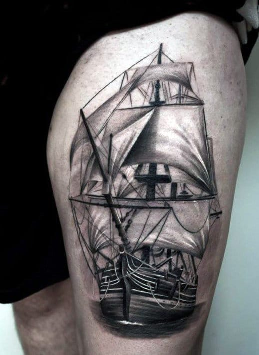 full-leg-tattoo-ship-design