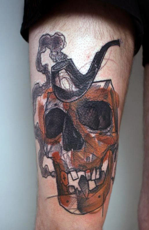 leg-sleeves-tattoos-skull-and-pipe