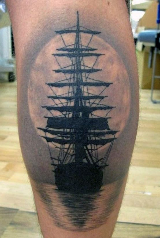tattoo-leg-sleeve-ship