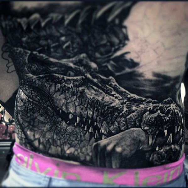 alligator-with-hand-in-jaw-badass-back-tattoos-for-men